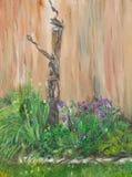 Oude uitstekende waterpomp in tuin Royalty-vrije Stock Fotografie