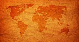 Oude uitstekende wereldkaart Stock Foto