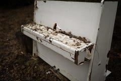 Oude uitstekende witte piano in een bos stock afbeelding