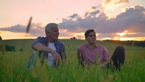 Oude vader met volwassen zoonszitting op tarwe of roggegebied en binnen het ontspannen, mooie mening van aard tijdens zonsonderga stock footage