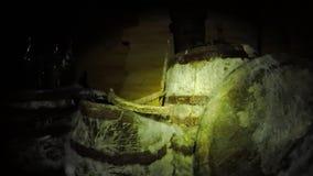 Oude Vaten in een Donkere Kelder stock videobeelden