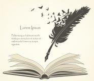 Oude veer met vliegende vogels en open boek royalty-vrije illustratie