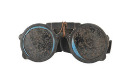 Oude veiligheidsbrillen voor geïsoleerd lassen Stock Afbeeldingen