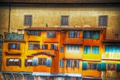 Oude vensters in Ponte Vecchio Royalty-vrije Stock Foto