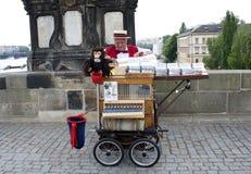 Oude venter in ruw Praag, stock afbeelding