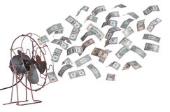Oude ventilator en dollarbankbiljetten Royalty-vrije Stock Afbeeldingen