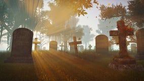 Oude verlaten begraafplaats bij zonsondergang Royalty-vrije Stock Afbeeldingen