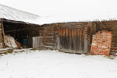 oude verlaten houten loods Stock Foto's