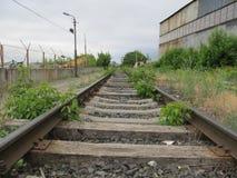 Oude verlaten spoorweg met roestige sporen en rottende dwarsbalken stock afbeelding