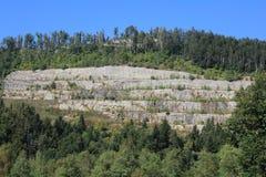 Oude verlaten steengroeve in het meest forrest stock foto's