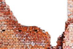 Oude vernietigde bakstenen muur Stock Afbeeldingen