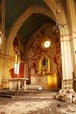 Oude, Vernietigde binnenlandse kerk â binnen. Royalty-vrije Stock Foto's