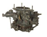 Oude versleten carburator van een oude auto die op witte backgroun wordt geïsoleerd Stock Foto's