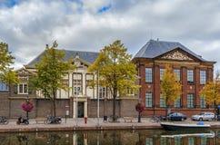 Oude vest channel, Leiden, Netherlands. Historical houses on embankment of Oude vest channel in Leiden, Netherlands Stock Photo