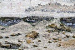Oude vestingsmuur die die in de grond overgaan met de lentegras en mos wordt behandeld stock foto