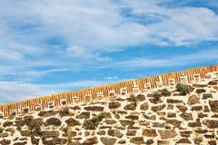 Oude vestingwerkmuur in Collioure Stock Foto
