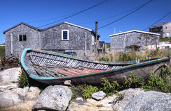 Oude visserijdory, de Inham van Peggy, Nova Scotia Stock Foto