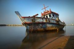 Oude vissersboten Stock Afbeelding
