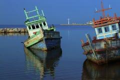 Oude vissersboten royalty-vrije stock foto's