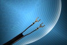 Oude vlakke antenne 300 ohmkabel voor televisie royalty-vrije stock afbeelding