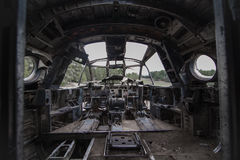 Oude vliegtuigcockpit, dashboard Stock Foto's