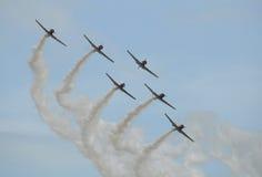 Oude vliegtuigen in vorming Royalty-vrije Stock Afbeeldingen