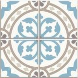 Oude vloerkeramische tegels Victoriaans Engels vloer het betegelen ontwerp, naadloos vectorpatroon stock illustratie