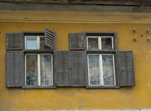 Oude voorgevel in Sibiu Roemenië Stock Foto