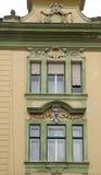 Oude voorgevel in Sibiu Roemenië Royalty-vrije Stock Afbeeldingen