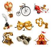 Oude voorwerpen Uitstekende pictogramreeks, vector Royalty-vrije Stock Foto
