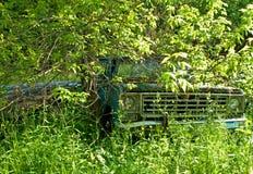 Oude vrachtwagen in hout Stock Foto's