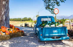 Oude vrachtwagen met fruit en plantaardige geladen die oogst wordt geparkeerd naast royalty-vrije stock foto's