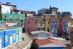 Oude Vreedzame zeehavenstad van Valparaiso, de Plaats van de Werelderfenis en culturele hoofdstad van Chili stock foto's