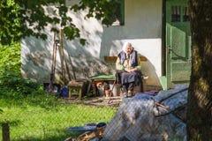 Oude vrouw die bij tuin situeren De stedelijke mening van de Stad Stock Foto's