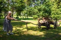 Oude vrouw die een kar trekken Royalty-vrije Stock Fotografie