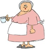 Oude vrouw die een kop thee houden Royalty-vrije Stock Foto