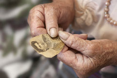 Oude vrouw die eigen foto houdt Royalty-vrije Stock Afbeeldingen