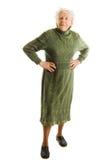 Oude vrouw die op wit wordt geïsoleerd? Royalty-vrije Stock Foto's