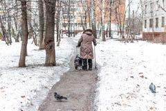 Oude vrouw en duiven in vierkant in de wintertijd Pensioenconcept royalty-vrije stock foto's