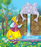 Oude vrouw en magische fontein Royalty-vrije Stock Fotografie