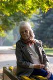 Oude vrouw in het park Stock Fotografie