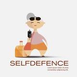 Oude vrouw met een kanon Selfdefence concept Royalty-vrije Stock Afbeeldingen