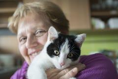oude vrouw met een kat royalty-vrije stock afbeeldingen