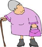 Oude vrouw met een riet Royalty-vrije Stock Afbeeldingen