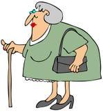 Oude Vrouw met een Riet royalty-vrije illustratie