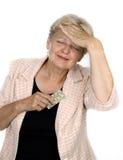 Oude vrouw met gezondheidsprobleem royalty-vrije stock foto