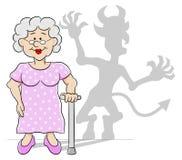 Oude vrouw met haar duivelsschaduw Stock Foto's