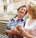Oude vrouwen op balkon met thee Stock Afbeeldingen