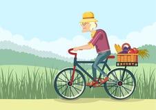 Oude vrouwenaandrijving door fiets Vectortuinman Stock Afbeelding