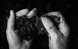 Oude vrouwenhanden die verse grond houden Symbool van de lente en ecologieconcept Stock Afbeeldingen